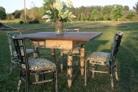 Shabby Chic Table w/ Reclaimed Heart Pine Top